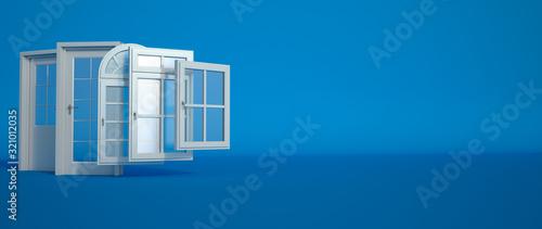 Fototapeta Door and windows selection on blue obraz