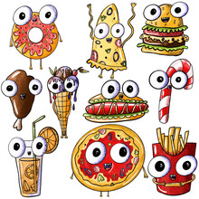Set Of Cute Monster Legs, Pizza, Donut, Juice, Burger, Great Dane, Lollipop, Ice Cream, French Fries On An Isolated White Background. Fast Food With Eyes, Junk Food. For Poster, Print, Kids Menu