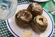 Leinwanddruck Bild Steamed artichokes with alioli sauce