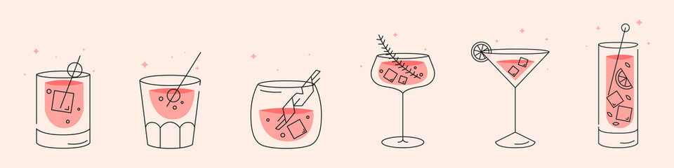 Cocktails collection. A set of Cooling summer drinks. Modern style. Flat design
