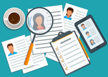 Concept Of Recruitment, Manager Searching Candidate For Hiring. Mobile App With List Of Job Applicants. Application Form For Employment. Recruitment Process. Headhunting Agency. Flat Design