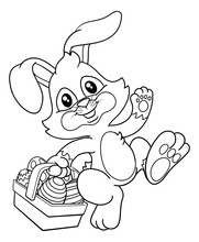 Easter Bunny Rabbit Cartoon Character Holding A Basket Full Of Painted Easter Eggs. In Black And White Outline