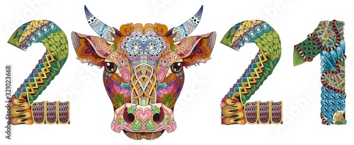 Zentangle stylized bull number 2021. Hand Drawn lace vector illustration