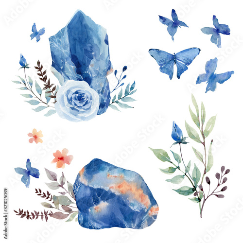 Photo watercolor set with gemstone