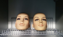 Two Mannequin Female Heads Lyi...