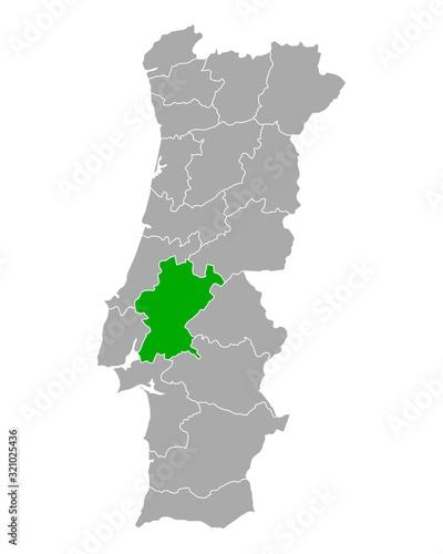 Vászonkép Karte von Santarem in Portugal