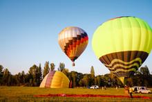 Balloon In The Field. Preparin...
