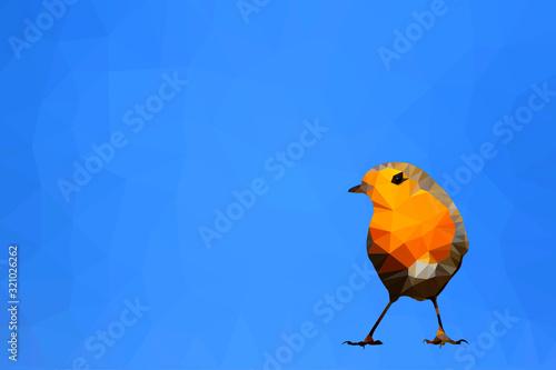 Fotografie, Obraz Bird polygonal low poly geometric. Robin bird.