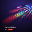 An optical rainbow light leak lens flare vector effect.