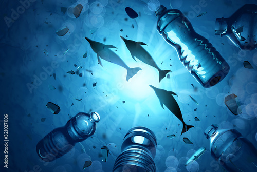 Fotografía Dolphins swimming in an ocean filled with microplastics and plastic waste