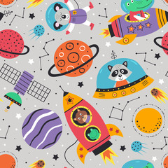 seamless pattern with space animals on gray background.Koala,crocodile, raccoon, frog and squirrel - vector illustration, eps