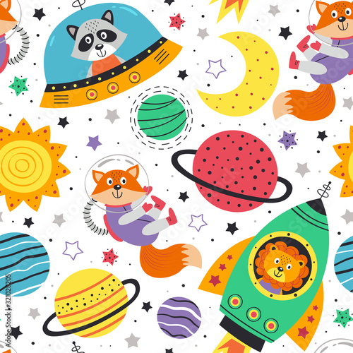 seamless pattern with space animals on white background Canvas Print