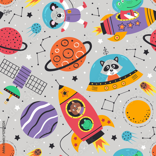 fototapeta na ścianę seamless pattern with space animals on gray background.Koala,crocodile, raccoon, frog and squirrel - vector illustration, eps