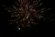 Beautiful Festive Fireworks On The Background Of The Moon