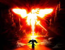 White Fiery Silhouette Of A Beautiful Angel Woman With A Sword And Shield Huge Black Wings And Hair Fluttering In The Wind. The Character Is Huge And Goes To Meet The Silhouette Of A Small Angel. 2D
