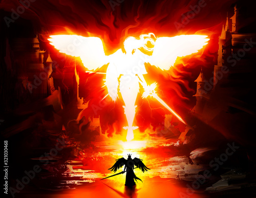 White fiery silhouette of a beautiful angel woman with a sword and shield huge black wings and hair fluttering in the wind Fototapete