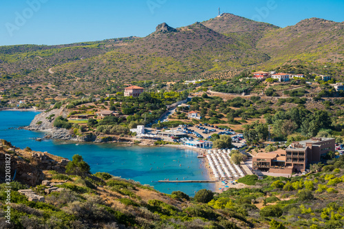 Photo Panoramic view of the bay of Cape Sounio in Attica, Greece near the archaeologic