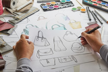 Designer Stylish Sketch Drawn Design Template Pattern Made Leather Clutch Bag Handbag Purse Woman Female Fashionable Fashion Luxury Elegant Accessory.