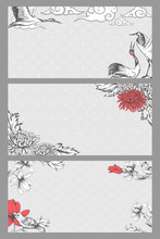 Set Of Template Cards With Asian Themes. Blooming Magnolia, Cranes And Chrysanthemums