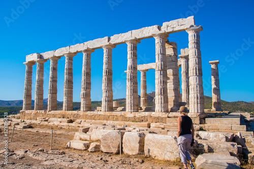 The ancient temple of Poseidon at Cape Sounio in Attica, Greece Canvas Print