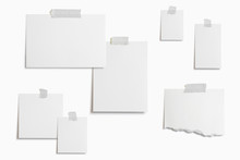 Moodboard Template Composition With Blank Photo Cards, Torn Paper, Square Frame Glued With Adhesive Tape And Isolated On  White As Template For Graphic Designers Presentations, Portfolios Etc.