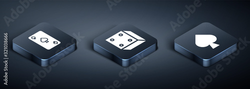 Photo Set Isometric Playing card with spades symbol, Playing card with spades symbol and Game dice icon