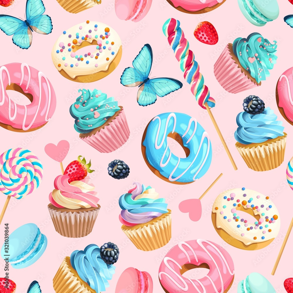 Fototapeta Vector seamless pattern with cupcakes and donuts