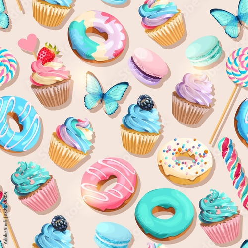 Vector seamless pattern with cupcakes and donuts Canvas Print
