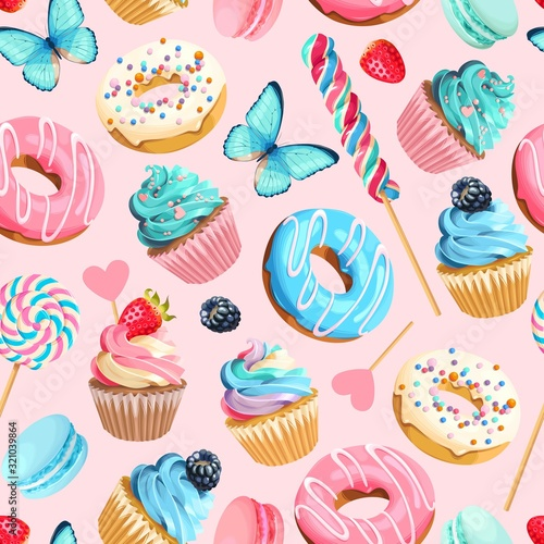 Fototapeta Vector seamless pattern with cupcakes and donuts obraz