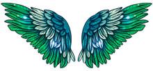 Beautiful Magic Shiny Glittery Green Blue Wings, Hand Drawn Vector