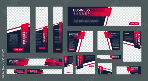 Obraz set of creative web banners in standard size with a place for photos. Vertical, horizontal and square template with Gradient black and red color . vector illustration EPS 10 - fototapety do salonu