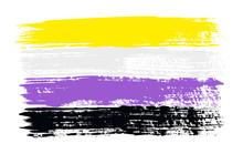 Grunge Non-binary Pride Flag. Vector Illustration Symbol Of Non Binary. LGBT Movement. LGBTQ Community.