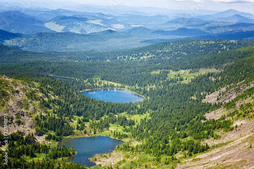 Top view of Karakol lakes in Altai mountains. Altai, Suberia Wallpaper Mural