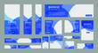 set of creative web banners in standard size with a place for photos. Vertical, horizontal and square template with blue color. vector illustration EPS 10