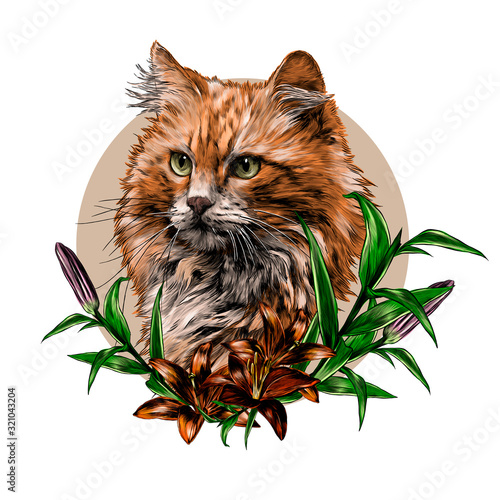 Leinwand Poster red cat muzzle round composition decorated with Lily flowers, sketch vector grap