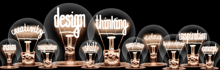 Light Bulbs with Design Thinking Concept