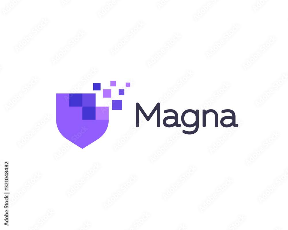 Fototapeta Abstract pixel shield logo icon design modern digital style illustration. Motion pixel flow vector emblem sign symbol mark logotype