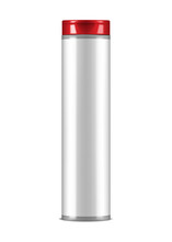 Blank White Glossy Cosmetic Bottle With Red Cap And Empty Label, Vector Mockup. Beauty Product Package, Template For Design