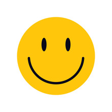 Yellow Smiley Face For Your Design. Concept Illustration. Сharacter For Web Or Card Design. Graphic Element For Background