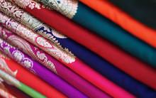 Closeup View Of Stacked Saris ...