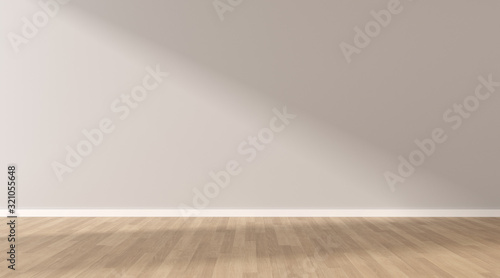 Obraz Mock-up of light grey empty room and wood laminate floor with sun light cast the shadow on the wall,Perspective of minimal interior design. 3D rendering - fototapety do salonu