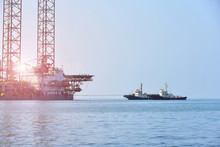 Platform Drilling Rig In Oil Field For Drilled Into Subsurface With Tugboat Assistance To Tow In Order To Produced Crude Inside View, Petroleum Industry Image And During Maintenance