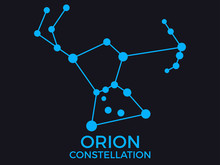 Orion Constellation. Stars In The Night Sky. Cluster Of Stars And Galaxies. Constellation Of Blue On A Black Background. Vector Illustration