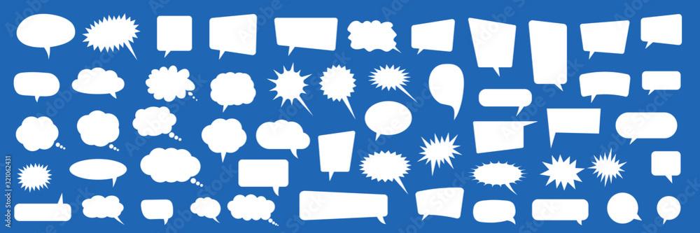 Fototapeta Set of speech bubbles. Blank empty vector white speech bubbles. Cartoon balloon word design.