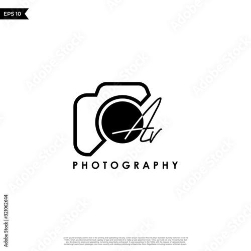 Obraz Initial Letter AV with camera. Logo photography simple luxury vector. - fototapety do salonu