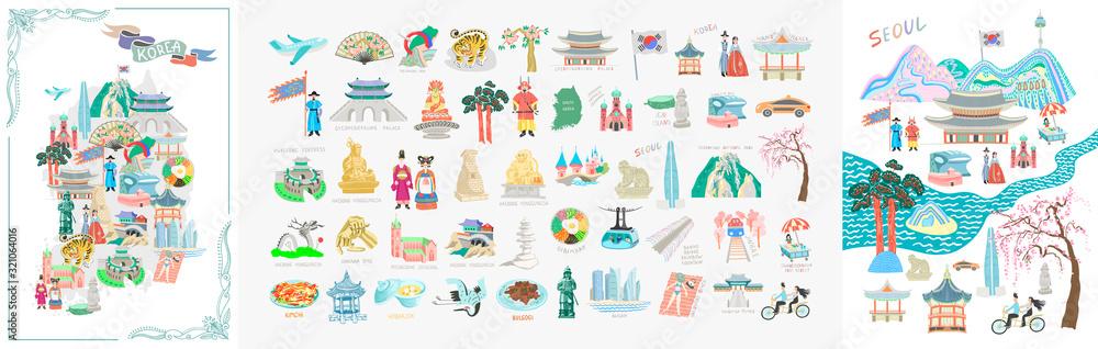 Fototapeta set of 50 doodle vector illustration - sights of South Korea travel collection