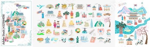 Foto set of 50 doodle vector illustration - sights of South Korea travel collection