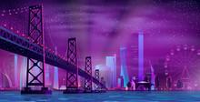 Modern Night City Cartoon Vect...