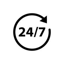 24/7 Service Care Icon Vector ...