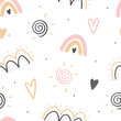 Hand drawn decorative abstract kids seamless pattern for print, textile, apparel design. Modern cute girly background.